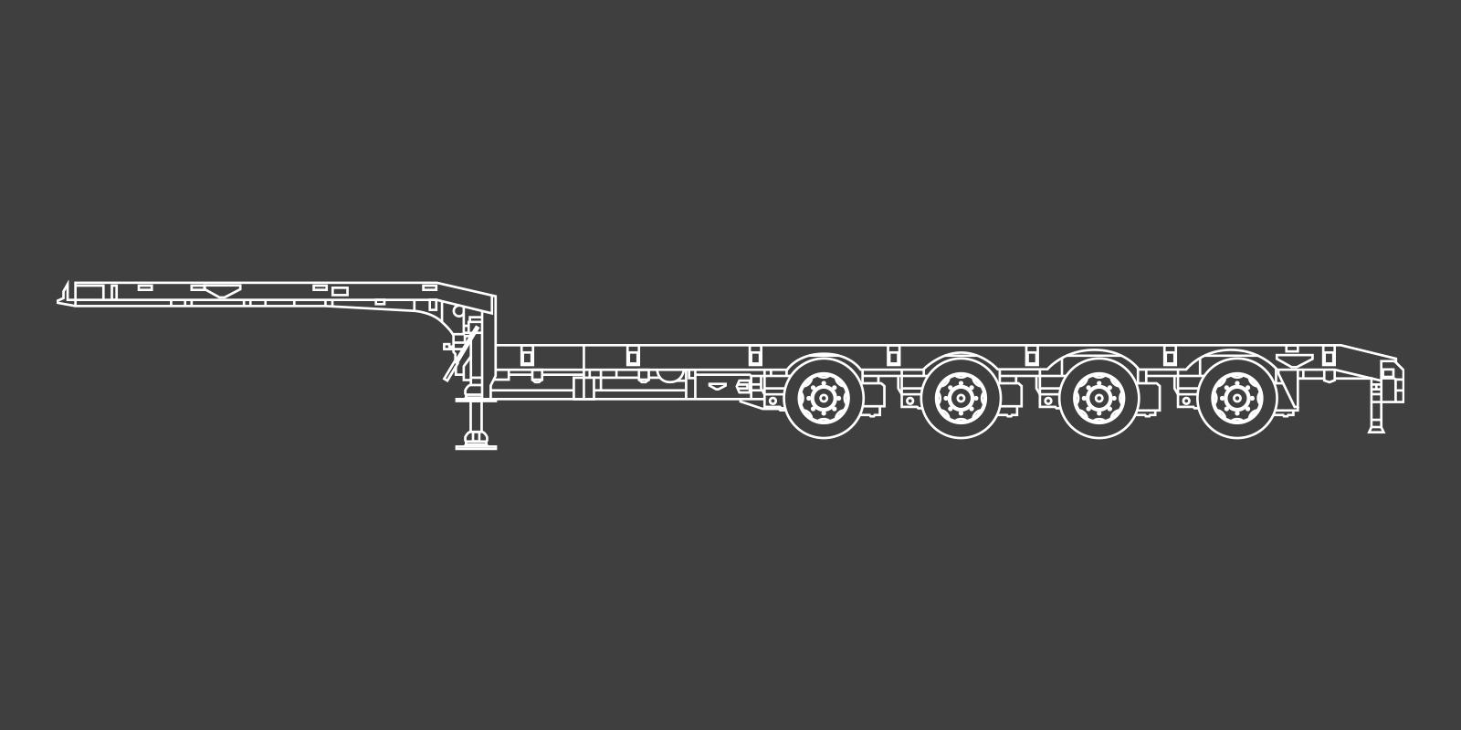 4 Axle Single Extender Semi Low Loader