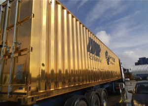 Gold painted container